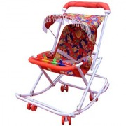 ABASR BABY KIDS MULTICOLOUR 2 IN 1 WALKER RED FOLDABLE
