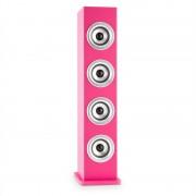 Auna Karaboom LED, розов, bluetooth високоговорител, USB, AUX, FM, караоке, 2 микрофона (CS11-Karaboom LED PK)