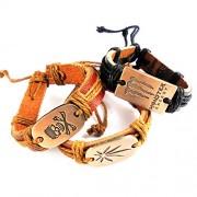 eshoppee skull head dangerous sign leather bracelet wrist band for man and women set of 3 pcs men's bracelet