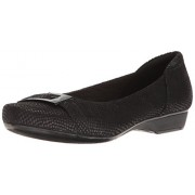 Clarks Women's Blanche West Flat, Black Snake Print Leather, 9 W US