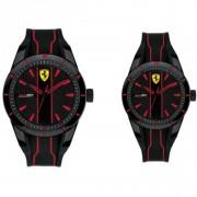 Scuderia Ferrari - Set RedRev - Due orologi da polso solo tempo con cassa in resina e cinturino in silicone nero con dettagli rossi - FER0870021