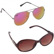 Aligatorr Combo Of 2 Cat Eye Aviator Sunglasses ldy brnaviatorred merCRLK