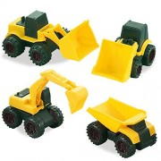 Road Repair Construction Vehicles, Set of 4 Trucks Include: A Bulldozer, 2 Front Wheel Tractors, and a Dump Truck