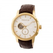 Heritor Automatic Callisto Semi-Skeleton Leather-Band Watch - Gold/Silver HERHR7204