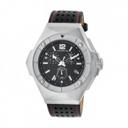 Morphic M55 Series Chronograph Leather-Band Watch w/Date - Silver/Black MPH5501