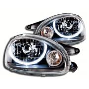 Faruri Angel Eyes pentru masini cu reglaj electronic incorporat Opel Corsa B 93-99 negru
