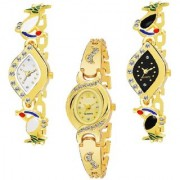 New Combo Pack Of 3 Attrective Designer Multi Color Dial Analog Watch For Girls Women