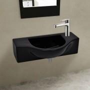 vidaXL Kerámia fürdőszoba mosdókagyló csaptelep lyukkal fekete