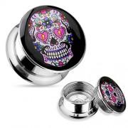 14 mm screw fit plug skull pink