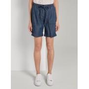 TOM TAILOR Loose fit Bermuda shorts met verstelbare tailleband, Blue Denim, 36