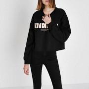 River Island Womens Black 'merci' block print sweatshirt