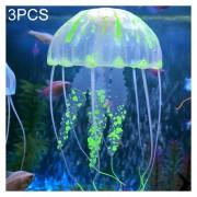3 PCS Acuario Silicona Fluorescente Articulos Decoracion Simulación Sucker Medusas, Tamaño: 3,5 * 11cm (verde)