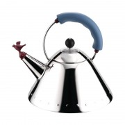 Alessi Kettle Small Bird-Shaped Whistle Silver And Light Blue