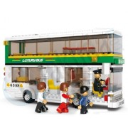 Sluban Building Block City Luxury Bus Gas Station B0331 5dolls 403pcs Compatible with Lego