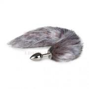EasyToys ezüst színű anál tágító rókafarokkal - közepes