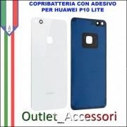 Copribatteria Back Cover Huawei P10 Lite Bianco Scocca Vetro WAS-L03T
