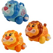 Indiplay Cute Lion Toys Wind-up with Winding Chain and Moving Wheels Feature for Toddlers (Lion)( Set of 3)