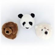 Linnea Peluche trophée mini 3 petites têtes d'Ours & Panda collection Forêt