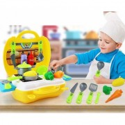 Ultimate Kid Chef's Bring Along Kitchen Pretend Play Toys Suitcase Set (Yellow)