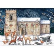 adventskalender A4+ - kerk met dieren uit het bos