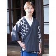 【カヤ】紋継ぎ羽織り メンズ ブラック