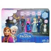 "Mattel Disney Frozen Complete Story Play Set Elsa Anna Hans Olaf Kristoff Sven 4"" Tall"