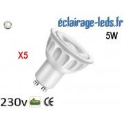 Lot de 5 ampoules led GU10 5W Blanc Naturel 4000K Équiv 45W 40° ref gu10-08