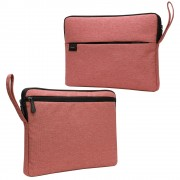 Splash-proof Nylon Fabric Soft Plush Lining Sleeve Bag Protector for 15.6-inch Laptop - Pink