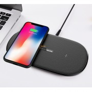 NILLKIN MC031 10W Standard Gemini Dual Wireless Charging Pad for iPhone X/8 Plus/8 Etc. (Not Support FOD Function) - Black