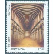 Splendours of India - Chaitya Hall (Karle Caves, Near Lonavala) Cave, Excavation, Buddhism Face Value Rs. 25