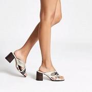 River Island Womens White wide fit cross strap block heel mules (6)