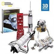 CubicFun National Geographic NASA Space Mission Toy 3D Puzzle for Kids with Booklet,DS0971h