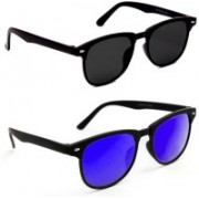 0303 FASHION HUB Retro Square, Retro Square Sunglasses(Blue, Black)