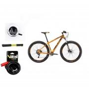 Paquete Bicicleta Alubike XTA TEAM R29 Naranja Timbre Candado Bomba