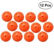 YeahiBaby 12PCS Perforated Plastic Play Balls Hollow Golf Practice Training Sports Balls (Orange)