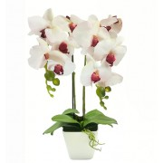 Aranjament Floral Orhidee Artificiala in Ghiveci cu 2 Tulpini, Aspect Natural, Culoare Roz