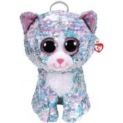 Rucsac de plus Ty, Pisica Whimsy cu paiete, 25 x 20 cm
