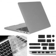 ENKAY Hat-Prince 3 in 1 Frosted Hard Shell Plastic Protective Case with Keyboard Guard & Port Dust Plug for Macbook Pro Retina 15.4 inch(Grey)