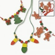 Wooden Beaded Holiday Necklace Craft Kit - Crafts for Kids & Jewelry Crafts