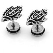 316L Stainless Steel Cross Shield Screw Back Stud Earrings for Men & Women 2 pcs