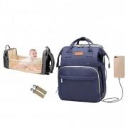 Rucsac multifunctional 2 in 1 - geanta pentru scutece si cosulet pliabil pentru calatorii, prindere carucior si USB, Ankommling, Albastru