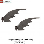Lego Parts: Dragon Wing 8 x 10 (Pack of 2 - Black)