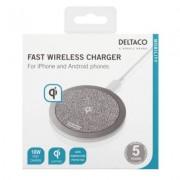 Deltaco Trådlös Snabbladdare för iPhone och Android 10W - Grå