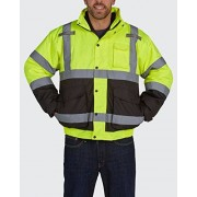 Utility Pro UHV563 Nylon/Polyester High-Vis Bomber Jacket with Zip-Out Fleece Liner with Dupont Teflon fabric protector, Lime/Black, Medium by Old Toledo Brands