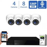 GW Security 8 Channel 4K NVR 5 Megapixel H.265 Security Camera System, 4 Built-in Microphone Audio Recording HD 1920P IP PoE Dome Cameras, QR-Code Connection