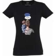 Tricou dama din bumbac 100 MAYKA model Mom of a boy culoare negru marime L