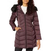 T Tahari Chamarra para Mujer con Capucha de Piel sintética, Merlot, XL