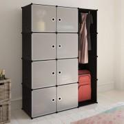 vidaXL Модулен гардероб с 9 отделения, черно/бяло, 37 x 115 x 150 см