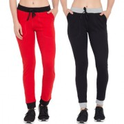 Cliths Cotton Yoga Pants For Women/Women's Track pants Casual Stylish Pack Of 2-Red Black Black Grey