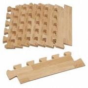 8-Piece Wood-Grain Foam Play Mat Tapered Edges - Natural